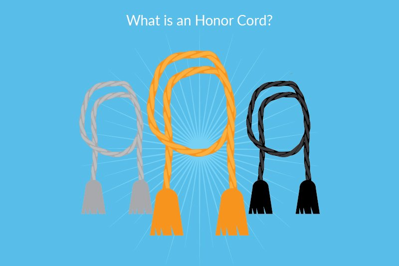 """what is an honor cord"" graphic of three honor cords"