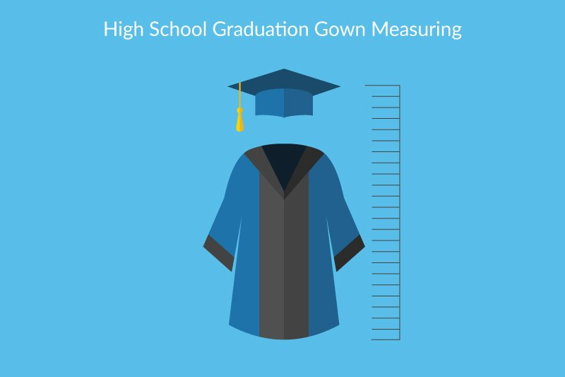 high school graduation gown measuring