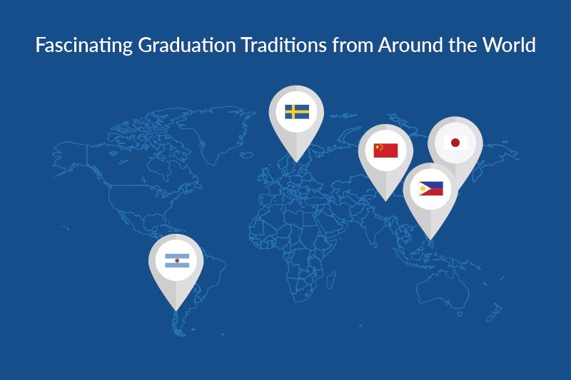 """fascinating graduation traditions from around the world"" world map graphic"