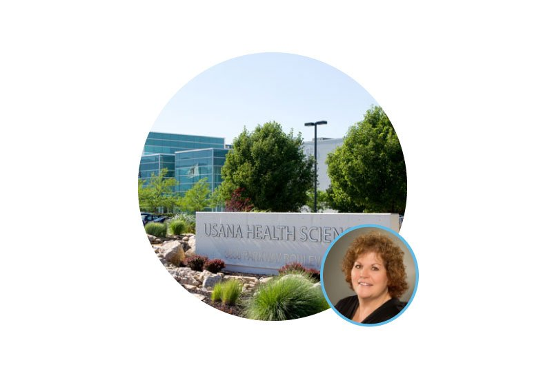 usana health science building woman in circle