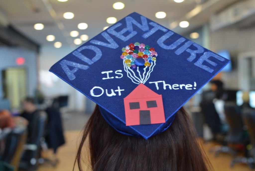 blue graduation cap adventure is out there