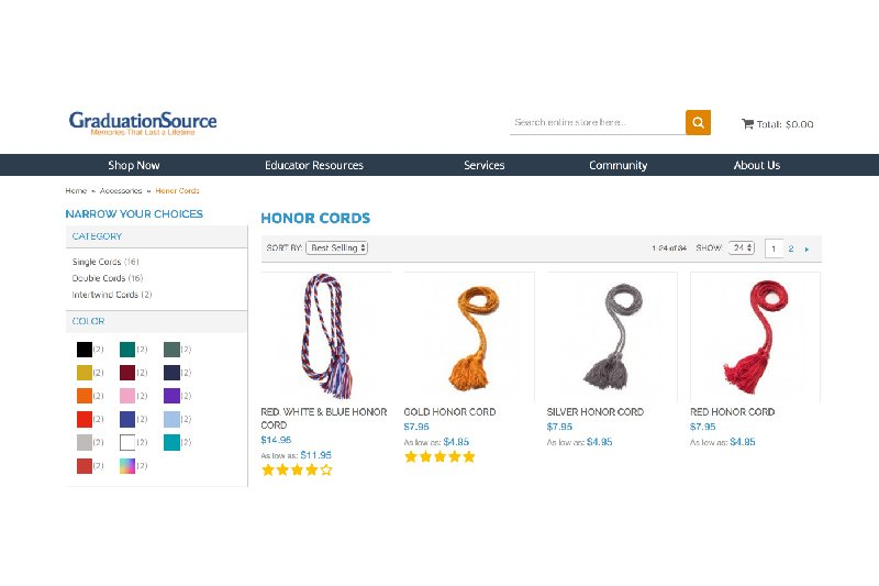 Graduation Honors - Online Shopping Image with Cords on Screen