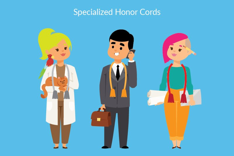 Graduation Honors - Different Color Cords on Different Career People