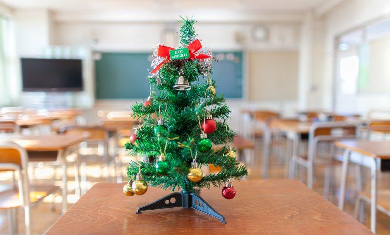 mini christmas tree on desk