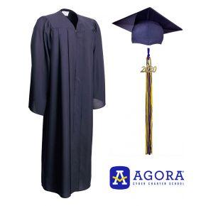 Agora Cyber Charter School Matte Navy Graduation Cap, Gown & Tassel