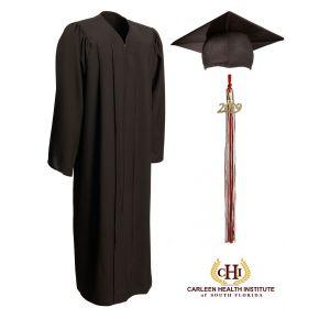 Carleen Home Health School Black Matte Cap, Gown & Tassel