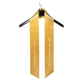 Child Pre-Kindergarten Imprinted Gold Sash
