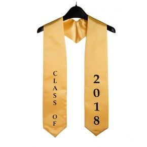 Imprinted Class of 2018 Gold Graduation Stole