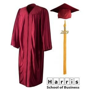 Harris School of Business - Linwood - Maroon Graduation Cap, Gown & Tassel
