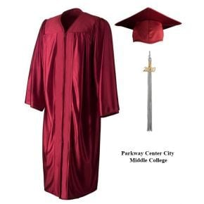Parkway Center City Middle College - Maroon Blue Cap, Gown & Tassel