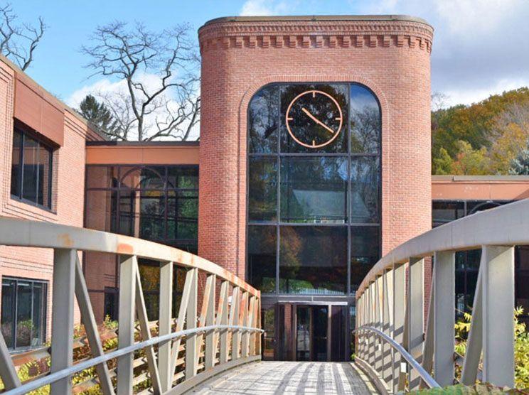 school clock tower end of bridge
