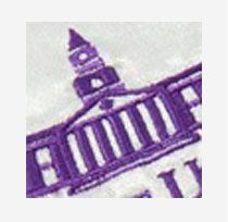 purple embroidered college