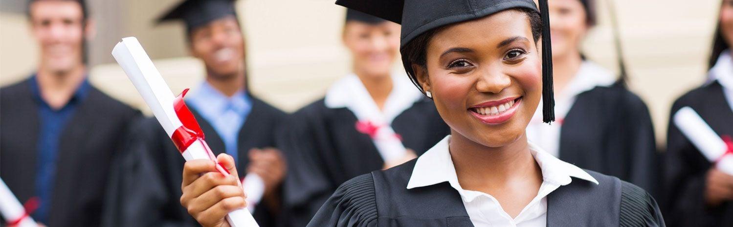 african american girl graduating