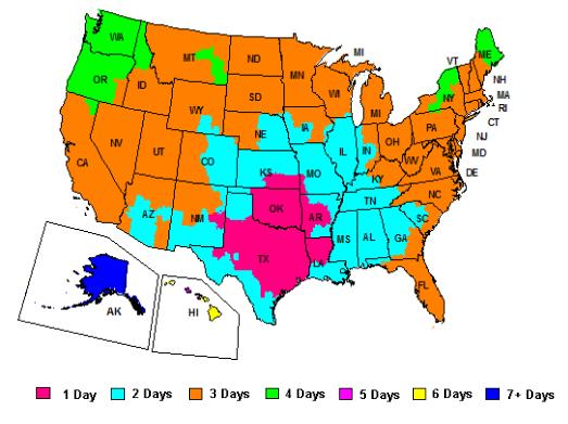 FedEx Ground Shipping Map