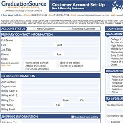graduation cap and gown order form